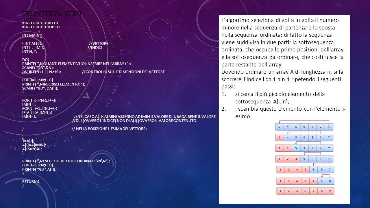 si cerca il più piccolo elemento della sottosequenza A[i..n];